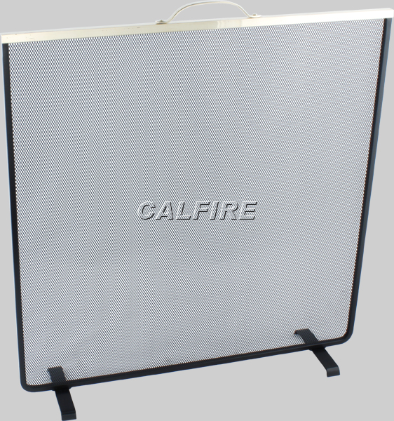 Nobel Flat Square Fire Screen with Brass Trim