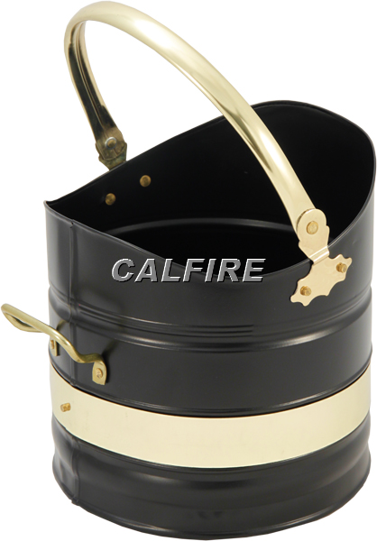 Adeney Coal Bucket in Black & Brass Plated