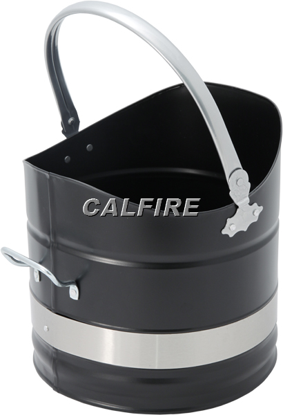 Sutton Coal Bucket in Black & Brushed Steel